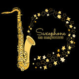 Hand drawn saxophone. Musical instrument vector illustration  Stock Photos