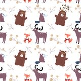 Hand drawn scandinavian animals in the forest, seamless pattern. Scandinavian style traditional motifs. Vector stock illustration