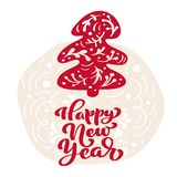 Hand drawn scandinavian illustration fir tree. Happy New Year calligraphy vector lettering text. xmas greeting card royalty free illustration