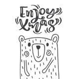 Hand drawn scandinavian illustration little cute bear. Enjoy xmas calligraphy vector lettering text. Christmas greeting royalty free illustration