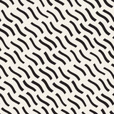 Hand Drawn Scattered Wavy Lines Monochrome Texture. Vector Seamless Black and White Pattern. Hand Drawn Scattered Wavy Lines Monochrome Texture. Abstract Stock Photography