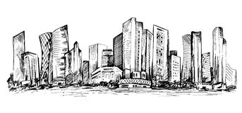 Hand drawn scene of office buildings Stock Photography
