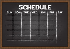 Hand drawn schedule on chalkboard. Stock Photos