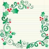 Hand-Drawn Schetsmatige Grens van de Hulst van Kerstmis van de Krabbel Royalty-vrije Stock Foto's