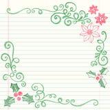 Hand-Drawn Schetsmatige Hulst van Kerstmis van de Krabbel Stock Fotografie
