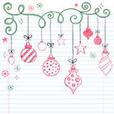 Hand-Drawn Schetsmatige Ornament van Kerstmis van de Krabbel Stock Fotografie