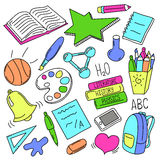 Hand drawn school doodles. Back to school colorful  illustration Stock Images