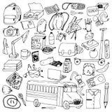 Hand drawn school doodles Royalty Free Stock Photos