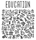 Hand drawn School education seamless logo Stock Images