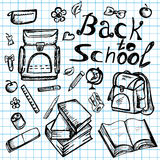 Hand drawn school elements on lined sketchbook Stock Photography