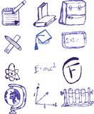 Hand drawn school icon set Royalty Free Stock Photography