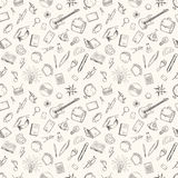 Hand drawn school icons seamless pattern. royalty free illustration