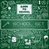 Hand drawn school icons set Stock Photos