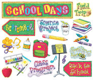 Hand-drawn School Illustrations Royalty Free Stock Image