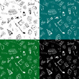 Hand drawn school items seamless pattern in four color variants Stock Images