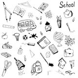 Hand drawn school items set