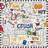 Hand-drawn school-related graffiti doodles Stock Images