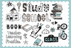 Hand drawn school set 01. Vintage school illustration with school and study related words in hand drawn style and on the grid background. All text and Stock Image