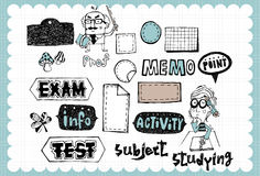 Hand drawn school set 02. Vintage school illustration with school and study related words in hand drawn style and on the grid background. All text and Royalty Free Stock Image