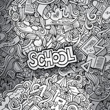 Hand drawn school sketch background Stock Image