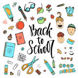 Hand drawn school stationery icon set. Vector collection in doodle style. Back to school Royalty Free Stock Image