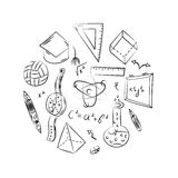 Hand Drawn School Symbols. Children Drawings of Ball, Books,Pencils, Rulers, Flask, Compass, Arrows Arranged in a Circle. Stock Photos