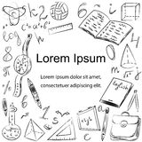 Hand Drawn School Symbols. Children Drawings of Ball, Books,Pencils, Rulers, Flask, Compass, Arrows with Place for Text Stock Photo