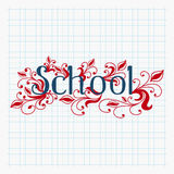 Hand drawn school text lettering with abstract floral design Royalty Free Stock Images
