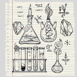 Hand drawn science  lab icons sketch set . Royalty Free Stock Photography