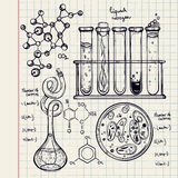 Hand drawn science  lab icons sketch set . Royalty Free Stock Photo