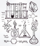 Hand drawn science  lab icons sketch set . Stock Image