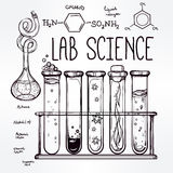 Hand drawn science  lab icons sketch set . Royalty Free Stock Images