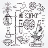 Hand drawn science  lab icons sketch set . Royalty Free Stock Photos