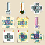 Hand drawn science and laboratory emblems set Stock Photos
