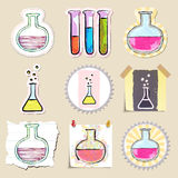 Hand drawn science and laboratory emblems set Royalty Free Stock Images