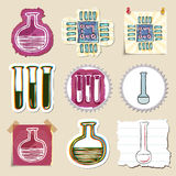 Hand drawn science and laboratory emblems set Stock Images