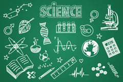 Hand drawn science set. Chalk on the blackboard Stock Photos