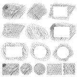Hand drawn scratch simple patterns and banners Stock Photo