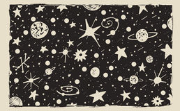 Hand drawn scratch style night sky background. Space, stars and planets vector illustration