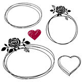 Hand Drawn Scribble Circles with rose Royalty Free Stock Images