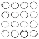 Hand drawn scribble circles to highlight parts of a text Royalty Free Stock Photo