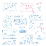 Hand drawn scribble of finance. Vector - Illustration of a hand drawn doodle of the financial system in the current economy Royalty Free Stock Photography