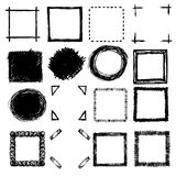 Hand-drawn scribble frames and corners Royalty Free Stock Image