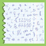 Hand Drawn Scribble Mathematics Symbols and Numbers on a Ripped Sheet of Copybook in a Cage. Doodle Style. Royalty Free Stock Photos