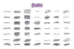 Hand drawn scribble set with purple lettering Royalty Free Stock Photography