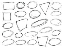 Hand Drawn Scribble Shapes. Set of hand drawn scribble symbols on white. Doodle style badges, frames and bubble shapes. Monochrome vector eps8 design elements stock illustration
