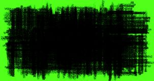 Hand-drawn scribbles transition, doodles and sketch effects with black color pencil on chroma key green screen background