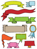 Hand drawn scroll banners. Colorful hand drawn scroll banners isolated on white with space for text Stock Images