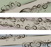 Hand Drawn scroll banners. Each banner is on its own layer. Swirls are not a compound shape and are separate. Easy to manipulate. Cropped via clipping mask stock illustration
