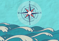Hand Drawn Sea compass background Royalty Free Stock Images